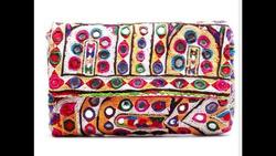 Vinatge banjara Indian designer stylish embroidery work party wear mirror work clutch bag