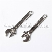 Antique Silver Alloy Wrench Pendants, Lead Free and Cadmium Free, 50x13x3mm, Hole: 3mm