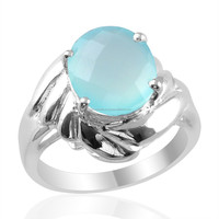 Manufacturer of Silver Aqua Chalcedony Gemstone Rings, Wholesale 925 Sterling Silver Rings