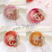 Resin ooch Zinc Alloy with Resin t Round rose gold color plated with rhinestone mixed colors nick lead & d free 50x50mm 10PCs/Lo