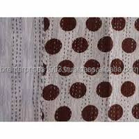 BRBQ- 20 Polka Dot Beige Handblock Baby Kantha quilt cover handmade cotton Bed Cover or Blanket Indian bedding bedspread ralli