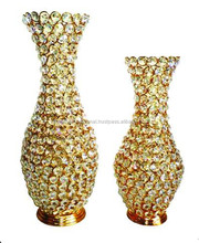 2015 New Arrival Crystal beads gold plated decoration flower vase