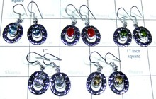 Casting Gemstone Jewelry 5 Prs Color gemstone Earrings From India- jye242