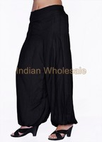 Indian Women Rayon Black Color Harem Pants Causal Trouser Yoga Dance Baggy Hippie Genie Casual Pants 2007BLK