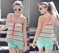 SPAGHETTI STRAP MULTI COLOR CHEVRON PRINT TOP
