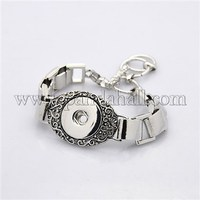 Antique Silver Zinc Alloy Snap Bracelet Makings, with Toggle Clasps, Lead Free & Nickel Free, Antique Silver MAK-M004-04-FF
