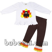 Beautiful turkey applique girl set for Thanksgiving - DR 1984