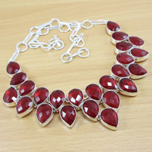 Wholesale Jewelry!! Faceted Garnet 925 Sterling Silver Coated 89g Gemstone Handmade Necklace!!