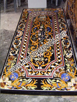Black Marble Inlay Dining Table Top Pietra Dura Marble Table Top