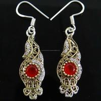 Indian Women Jewelry Ruby AD Stone Dangle Earring Bollywood Designer Jewellery