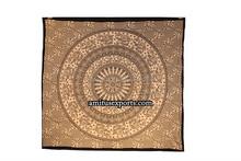 Brown Black Elephant Mandla VintageTapestry Wall Mandla Block Print Beach Hanging Tapestries Hippie Manufacturer In India Jaipur