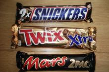 Snickers, Twix, Kit kat, Mars, Bounty chocolates
