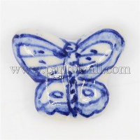 Handmade Porcelain Beads, Blue and White Style, Brushwork, Butterfly, Blue, 24x19x6mm, Hole: 2mm