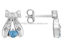 Round Swiss Blue Topaz Sterling Silver Child's Ballet Slipper Earrings , Silver Jewelry Makers, Silver Jewelry Usa