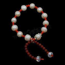 Agate Pearl Bracelets Freshwater Pearl with Natural Coral & Red Agate & Crystal & Zinc Alloy natural faceted 8-9mm Sold Per App