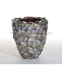 5707290815 Ceramic vase, Shell lacquer pot for decoration, 100% vietnamese handmade planter