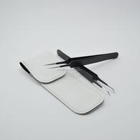New Ultra Fine Points Tweezers Set 45 Degree Angle Curved Tip Tweezer With Needle Nose Tweezer ( In Black Color Coating)...