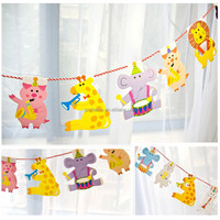 2M Cartoon Animal Birthday Decor Banner Kids Animal Big Happy Family Baby Shower Party Flags Brace Garland Striped Paper Flags