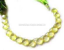 Top Quality Natural Green Colour Cubic Zircon Heart Faceted Loose Beads Strand