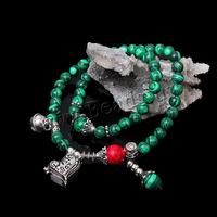 Malachite acelet with turquoise & Zinc Alloy silver color plated 2-strand & blacken nick lead & d free 6mm Length:Appr 14 Inch 5
