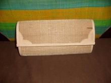 raffia or sisal clutch bag