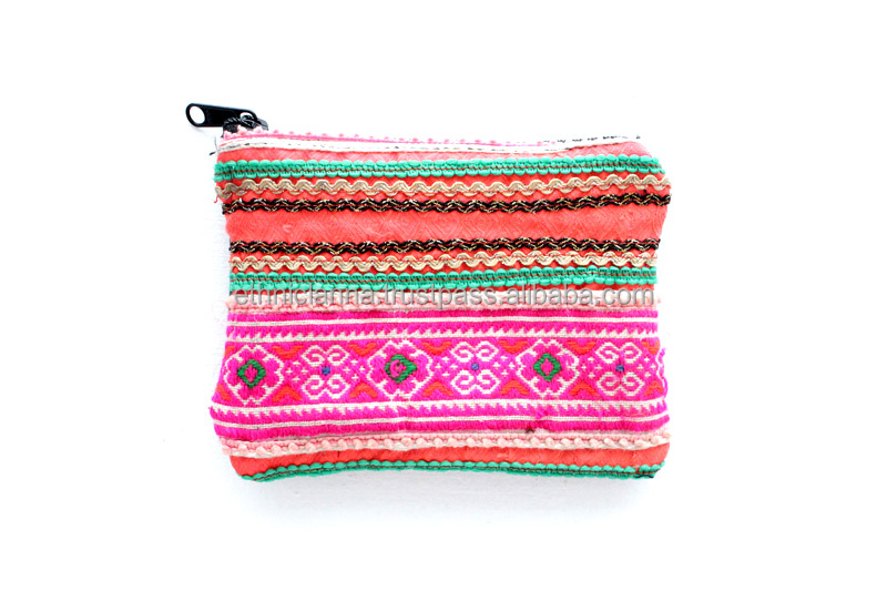 Quality Vintage Cross-Stitched Coin Pouch with Genuine Leather.