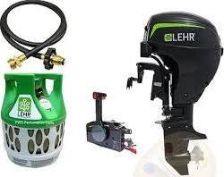 Used Lehr 15hp Propane Outboard Short Shaft Electric Remote Kit 17lb Tank