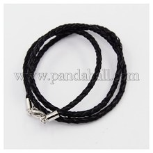 """Плетеный кожаные шнуры, для ожерелье задатки, с латунной застежкой омар застежками, платина, черный, 18.1 """" ; 3 мм NCOR-D002-17"""