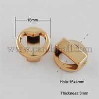 CCB Style Acrylic Slide Charms, Costume Accessories, Flat Round with Heart, Golden, 18x3mm, Hole: 15x4mm CCB-Q061-88