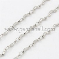 316 Stainless Steel Link Chains, Decorative Chain, with Moon Connector, Stainless Steel Color, 2.5x1.5mm CHS-K001-74