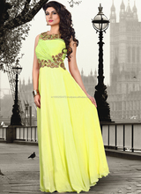Ladies long evening party wear gown\special pattern long wedding dress\yellow evening dress