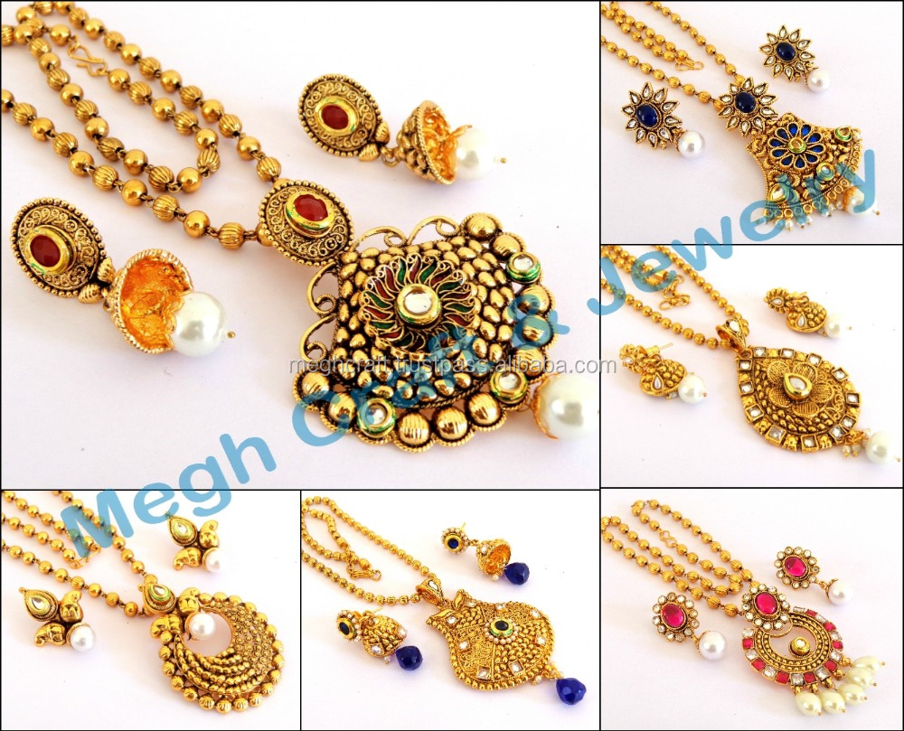 one gram gold plated pendant set wholesale punjabi