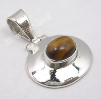 .925 Solid Silver OVAL BROWN TIGER EYE GEMSET GIRLS' HINGE Pendant 1 1/8 inches