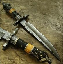 Sword by York Vivant-Custom Handmade Damascus Steel Blade Sword YV-AB101 Buffalo Horn, Tinted Camel Bone & Damascus Guard Handle