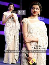 Dipika Padukone in White and Cream Net Designer Saree -