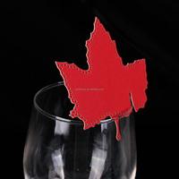 50PCS Party Chrismas Decorations Laser Cutting Place Card Wine Glasses Seat Card Maple Leaf Shaped Paper Party Decor Hot Sale