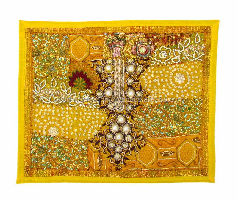 Indian Home Decor Handmade Wall Hanging Zardozi Work Tapestry With ...