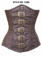 Underbust 5 Brass Buckles steel boned fake leather Corset