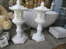Hand Sculpture Carving Stone Marble Led Lantern For Resort, House And Garden