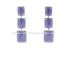 Naturale pietra preziosa orecchini, spianare orecchini di diamanti grossista, sei pietre lapislazzuli orecchini, oro argento