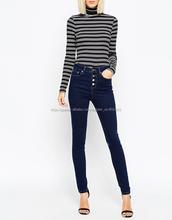Hacer to order jeans denim tela venta al por mayor jeans ajustados para las muchachas