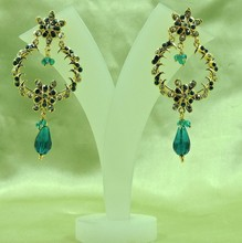 Wholesale Awesome Gold Plated Indian Bali Style Light Weight Sea Green Earrings