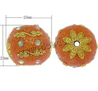 Indonesia Beads with Zinc Alloy Drum gold color plated with rhinestone & colorful wder reddish orange nick lead & d free 25x23mm