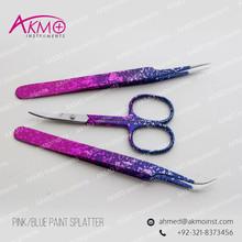 Eyelash Extension Tweezers & Scissors Set in Pink & Blue Paint Splatter/ Colorful Lashes Tweezers/ Volume Lash Tweezers