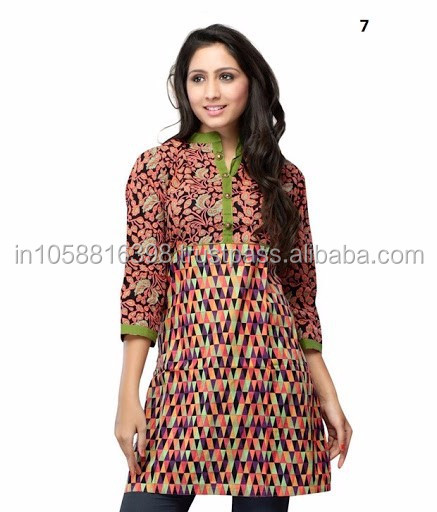 Stand Collar Kurti Designs : Stylish kurti cotton collar simple