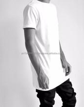 wholesale custom hot sale plain white tee shirt long extra long t shirt