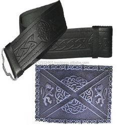 Scottish Leather Kilt Belt With Embossed Made Of Fine Quality Cowhide Leather