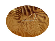 Decorative Christmas Fruit Platter , Gold Polish Serving Platter , Woven Design Platter, Round Serving Platter