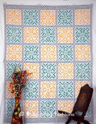Indian-Cutwork-Bedsheet-Full-Size-Bedspreads-Cotton-Bed-Applique Flat Sheet Tapestry, Bed Cover, Table Cover, Curtain