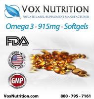 Omega 3 Fish Oil 915 mg Supplement, 100k Bulk softgels - Private Label Omega 3 Fish Oil Supplement